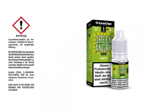 Green Angry Limetten Aroma - Liquid für E-Zigaretten 3 mg/ml 10er Packung