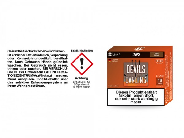 SC Easy 4 Caps Devils Darling Tabak 18 mg/ml (2 Stück pro Packung) 5er Packung