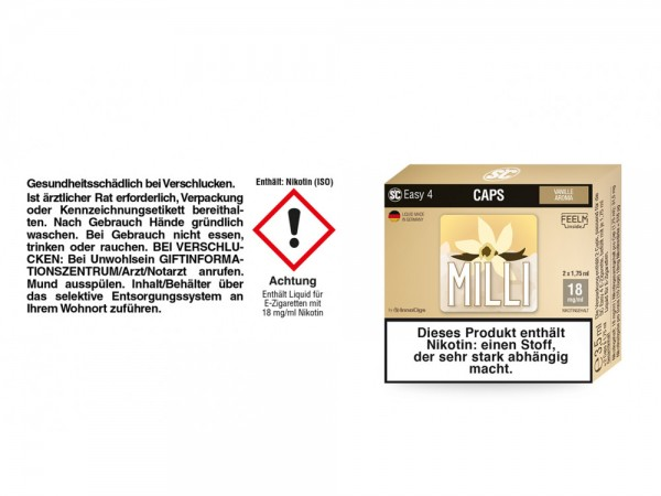 SC Easy 4 Caps Milli Vanille 18 mg/ml (2 Stück pro Packung)