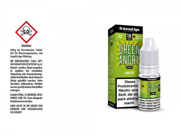 Green Angry Limetten Aroma - Liquid für E-Zigaretten 18 mg/ml 10er Packung