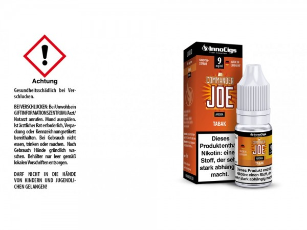 Commander Joe Tabak Aroma - Liquid für E-Zigaretten 9 mg/ml