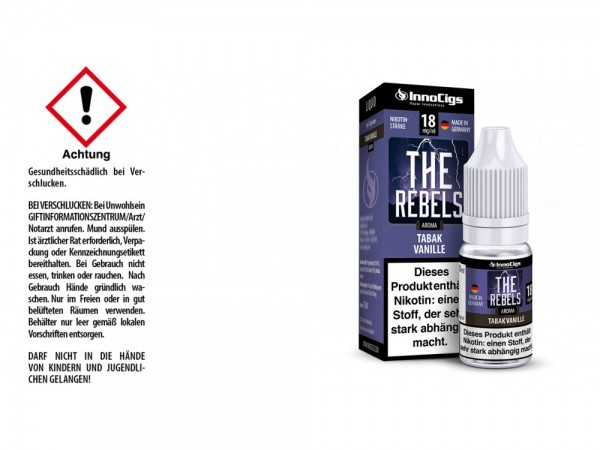 The Rebels Tabak Vanille Aroma - Liquid für E-Zigaretten 18 mg/ml 10er Packung