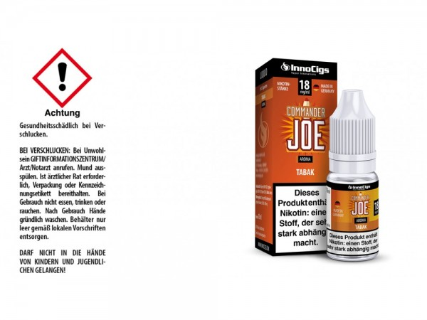 Commander Joe Tabak Aroma - Liquid für E-Zigaretten 18 mg/ml