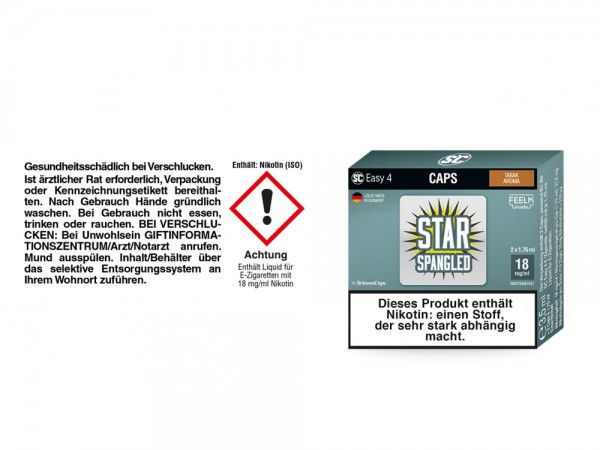 SC Easy 4 Caps Star Spangled Tabak 18 mg/ml (2 Stück pro Packung)