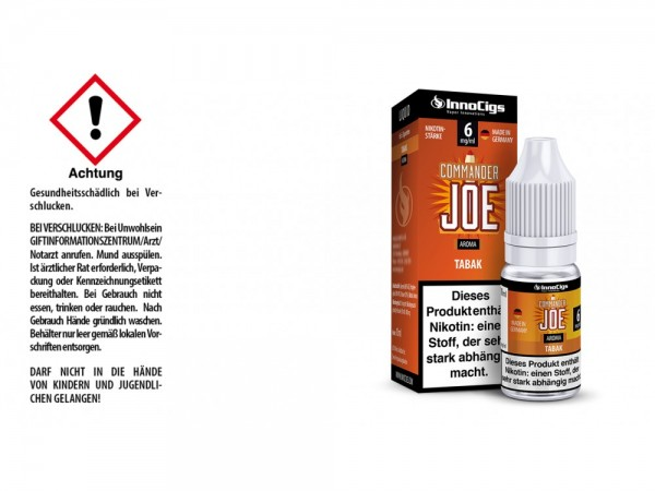 Commander Joe Tabak Aroma - Liquid für E-Zigaretten 6 mg/ml 10er Packung